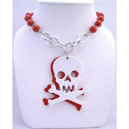 HH030  Red Pearls Long Necklace w/ Skull Head Pendant Halloween Gift 28 inches Long Necklace