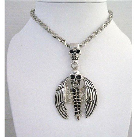 HH055  Bat Skull Halloween Pendnat Necklace 24 Inches Long NEcklace