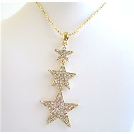 HH122  HipHop STAR 22k Gold Plated Pendant Thick Chained Necklace & Gold Plated Star Pendant
