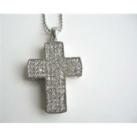 HH186  Cubic Zircon Cross Pendant Silver Cross Pendant HipHop Necklace