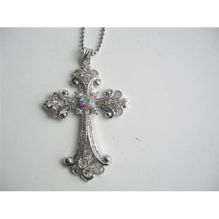 HH187  Crystals & Cubic Zircon Long Shimmering Cross Pendant Necklace