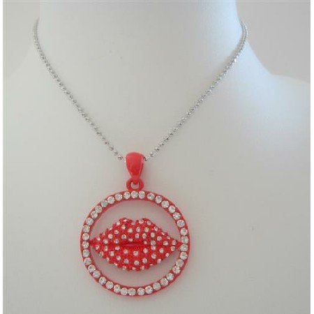 HH132 Smooch Kiss Pendant Kissy Red Lips Embedded w/Cubic Zircon w/18 inches Chain