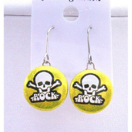 HH015  Rock Earrings Skull Head Embossed On Golden Metal Rock Halloween Earrings