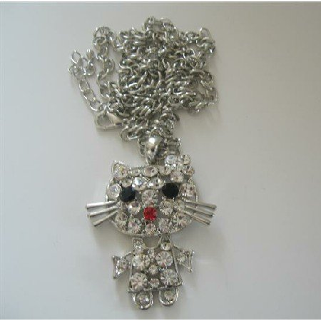 HH143  Cat Sparkles Pendant White CZ Style 26 inches Chain
