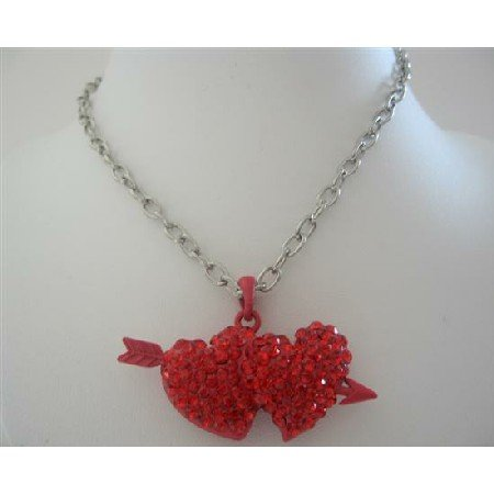 HH130  Double Heart With Arrow Pendant Necklace Red Cubic Zircon Hearts Pendant 24 inches Chain