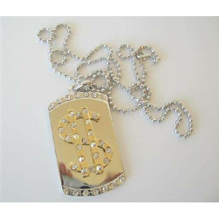 HH078  Bling $ Dollar Sign Diamond Dog Tag Pendant 28 inches Long