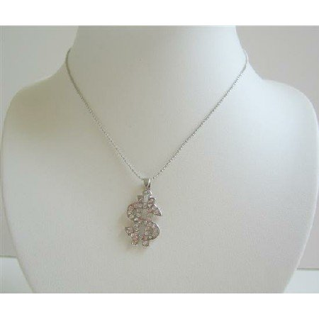 HH022  Dollar Sign in ICe Shimmering all covered w/ CZ Necklace Women Wear Choker Style