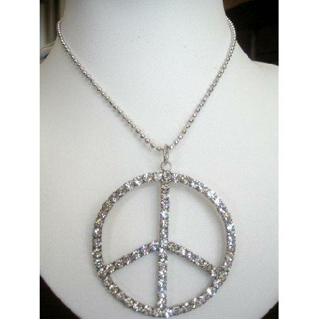HH021  Peace Sign in ICe Shimmering all covered w/ CZ 24 inches