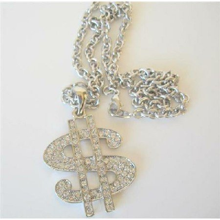 HH118  Men Dollar Sign Pendant Necklace Bling Bling Pendant w/ Cubic Zircon