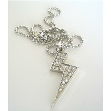HH088  Cubic Zircon Lightning Penant Necklace ICe Shimmering Choker