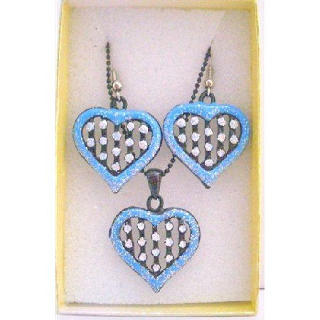 GC120  Girls Gift Item Jewelry Set Heart Pendant Necklace Set w/ Gift Box