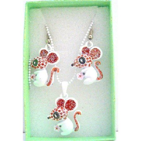 GC123  Cute Rabbit Pendant & Earrings Girls Gift Jewelry w/ Gift Box