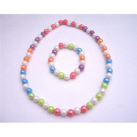 GC103  Summer Girls Jewelry Soft Multicolors Girls Stretchable Necklace & Bracelet Round Beads
