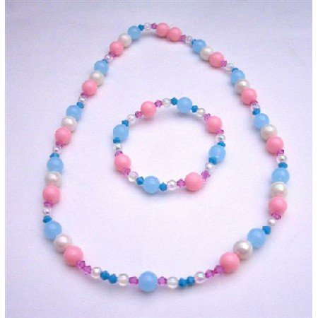 GC105 Simulated Crystals&Round Beads Pink Blue White Soft Girls Stretchable Necklace&Bracelet