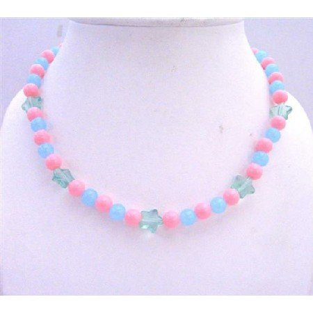 GC101  Round Beads Girls Stretchable Jewelry In Cool Pink and Blue Beads