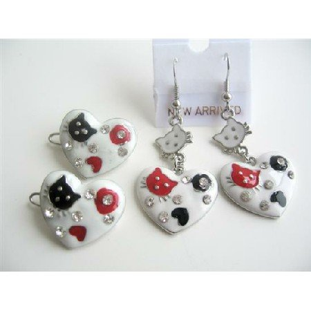 GC094  Hello Kitty Heart Hair Clip & Pair Of Earrings Enamel White Beautiful Designed
