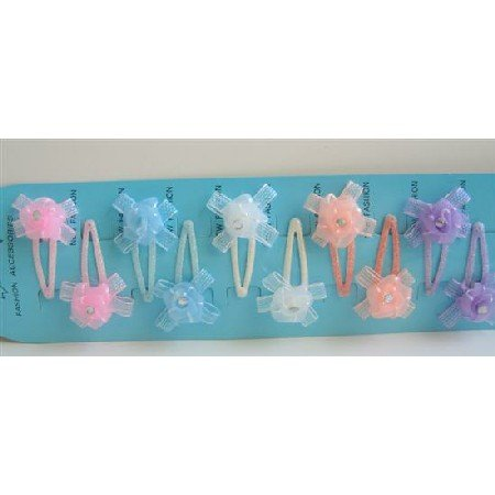 GC030  Organza Flower Handmade Fixed On Each Girls Hair Clip Assorted Colors