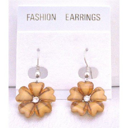 D141  Aquamarine Flower Earrings With Simulated Diamond Stud In Center Dollar Earrings