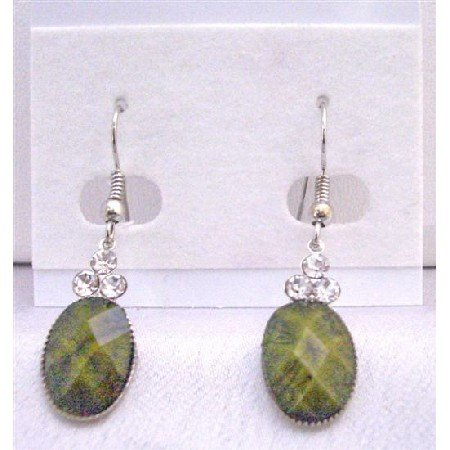 D151 Dollar Earrings in Olivine Green Colored Oval Bead Decorated w/3 Simulated Diamond On The Top