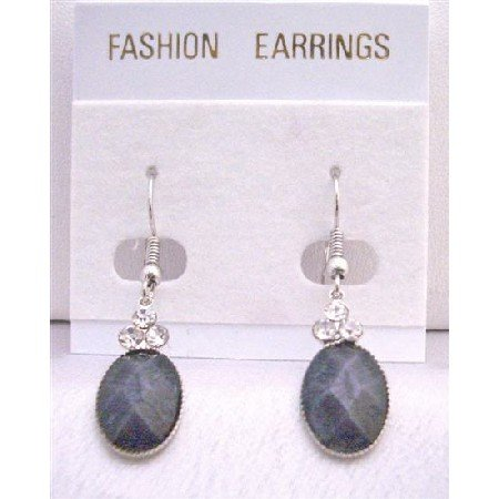 D152  Black Oval Bead Dollar Earrings With 3 Simulated Diamond On The Top Ethnic Dollar Earrings