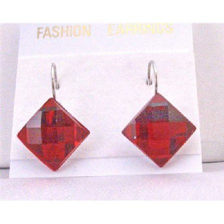 D155  Passionate Red Dollar Earrings Romantic Red Diamdond Shapped Earrings Dollar Earrings