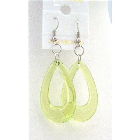 D137  Peridot Green Glass Teardrop Dollar Earrings