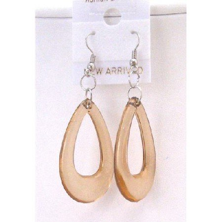 D136  Dollar Jewelry Dollar Earrings Brown Glass Teardrop Earrings Teardrop Dollar Earrings