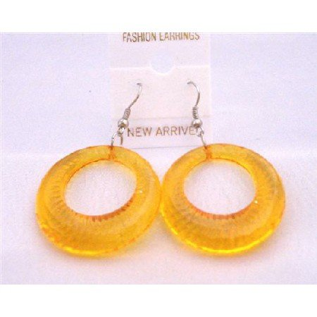 D131  Fabulous Dollar Jewelry Yellow Glass Hoop Earrings