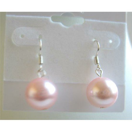 D093  Pink Sythetic Pearls Stud Earrings