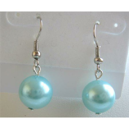D020  Fancy Synthetic Turquoise Blue Pearls Stud Earrings