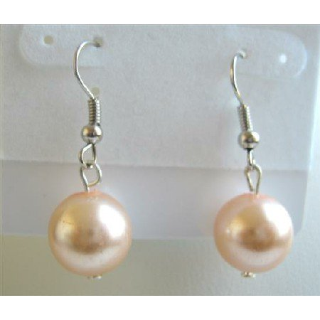 D053  Synthetic Peach Pearls Dollar Stud Earrings