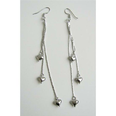 D106  Heart Dangling Chandelier Earrings