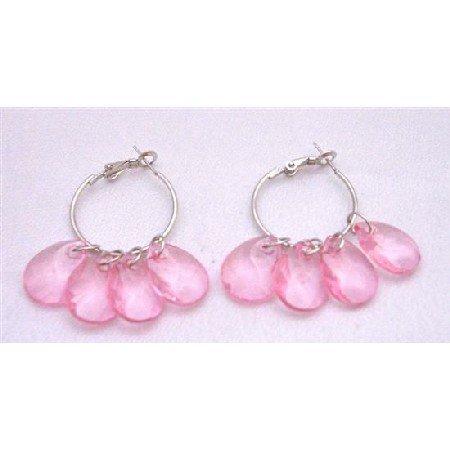 D051  Hoop Earrings Pink Transparent Bead Dangling Earrings