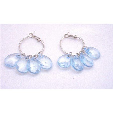 D052  Glamour Hoop Earrings Blue Transparent Beads Chandelier Earrings