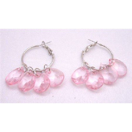 D045  Delicate Sleek Lite Pink Dangling Earrings Simulated Glass Beads