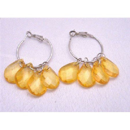 D043  Pumpkin Color Transparent Beads Cool Earrings For $1