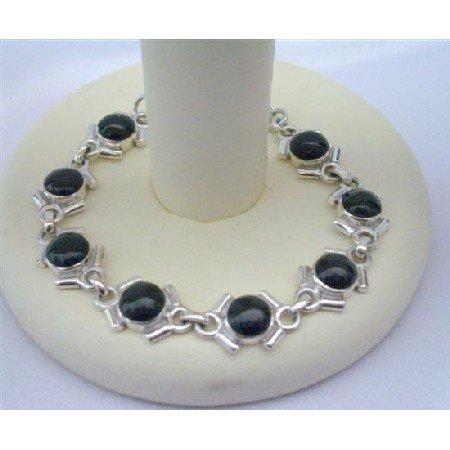 BR088  Onyx Stone Sterling Silver 92.5 Bracelet
