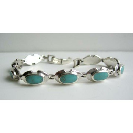 BR079  Sterling Silver Green Turquoise Bracelet w/ Oval Green Turquoise Stone Bracelet