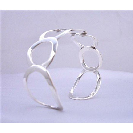 BR039  Sterling Silver 92.5 Round Rings Cuff Bracelet Genuine Sterling Silver w/ Stamped 92.5