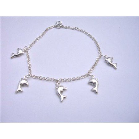 BR009  Dolphin Sterling Silver 92.5 Bracelet