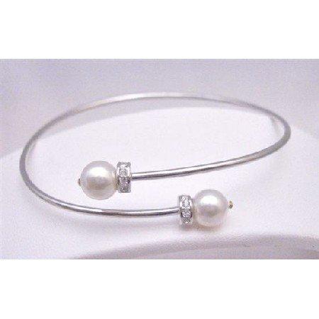 TB760Cuff Silver Bracelet w/Swarovski White Pearls&Spacer Silver Rondells Sparkle Like Diamond
