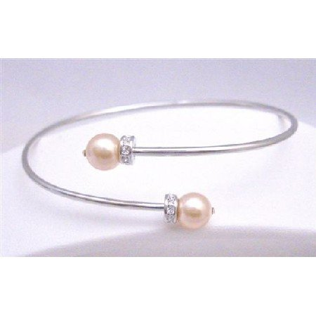 TB762  Peach Pearls Cuff Bracelet With Simulated Diamond Spacer Flower Girl Prom Bracelet