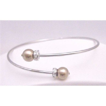 TB774  Prom Bronze Dress Jewelry Flower Girl Cuff Bracelet With Genuine Swarovski Bronze Pearls
