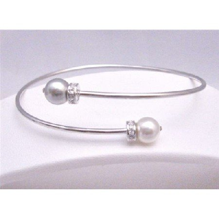 TB759  Affordable Wedding Silver Cuff Bracelet Swarovski White & Grey Pearls