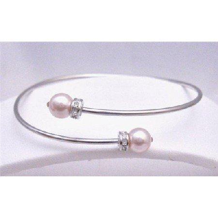 TB761  Genuine Swarovski Rose Pearls Silver Cuff Comfortable Bracelet w/ Diamante Spacer Sleek