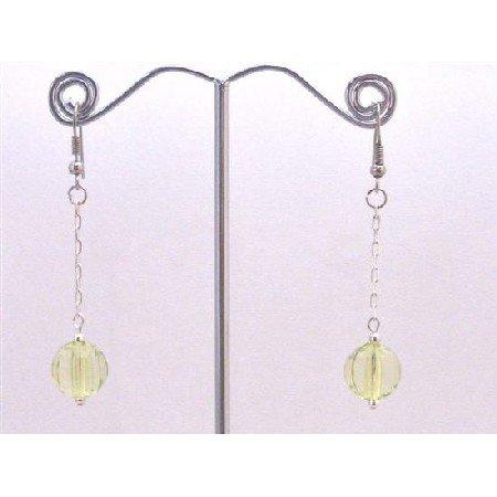 D168  Peridot Acrylic Bead Dangling Earrings Amazing Earring Stunning Smashing Dollar Dangling