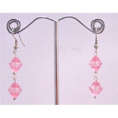 D164  Rose Crystals Earrings Cheap Earrings Only Dollar Jewelry Simulted Rose Crystals Earrings