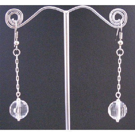 D167  Dollar Dangling Earrings Clear Acrylic Bead With Chain Dangling