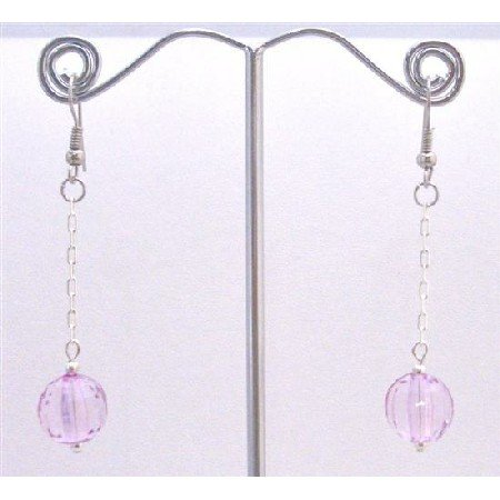 D169  Acrylic Bead Jewelry Dollar Earrings Light Purple Ball Bead Earrings