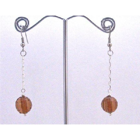 D173  Brown Bead Jewelry Cheap Earrings Dark Brown Acrylic Bead With Dangling Chain